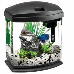 Aqueon 1 Gallon MiniBow LED Desktop Fish Aquarium Kit, Black