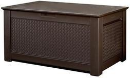 Rubbermaid 1859930 Outdoor Deck Box Storage Bench with Dark