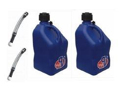 2 Pack VP 5 Gallon Square Blue Racing Utility Jugs with 2 De