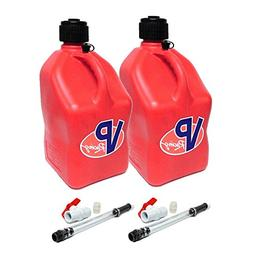 2 Pack VP 5 Gallon Square Red Racing Utility Jugs with 2 Del