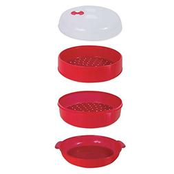 2-Tier Microwave Steamer in Red