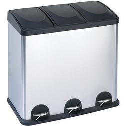 Step N' Sort 16-Gallon 3-Compartment Stainless Steel Trash a