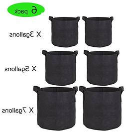 3 Gallon/5 Gallon/7 Gallon Grow Bags- 6 Pack Reusable and Du