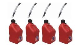 4 Pack VP 5 Gallon Square Red Racing Utility Jugs with 4 Del