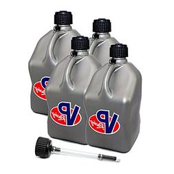 4 Pack VP 5 Gallon Square Silver Racing Utility Jugs with Ex