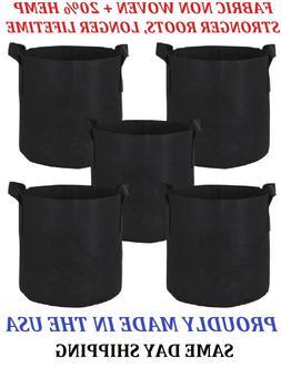 5, 3 GALLON 5x FABRIC NON WOVEN+HEMP GROWING POTS/BAGS W/ HA