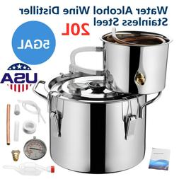5 Gallon 20L Water Distiller Wine Alcohol Stainless Steel Bo