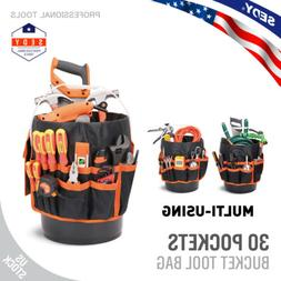 5 Gallon Bucket Organizer 30 Storage Pocket Tool Holder Tote