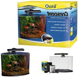 5-Gallon Crescent Acrylic LED Aquarium Kit Fish Tank Set Ene