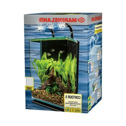 5-Gallon LED Glass Aquarium Kit Fish Tank Water Bowl with Ra