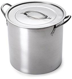 5 Gallon Stainless Steel Stock Pot with Lid, 12.5 x 12.5 x 1