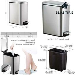 5 Liter 1.3 Gallon Stainless Steel Step Trash Can Pedal Dust