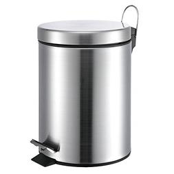 5 Liter/1.3 Gallon Small Round Stainless Steel Step Trash Ca