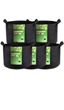 5 Pack 3 Gallon Heavy Duty Thickened Nonwoven Fabric Pot Gro