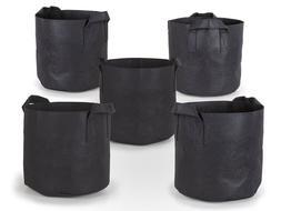 5Pcs/Pack Black Fabric Grow Pots Breathable Plant Bags Smart