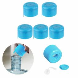 5pc blue reusable water bottle cap lid