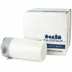 Plasticplace 4-6 Gallon White Drawstring Bags, 100% Prime Ma