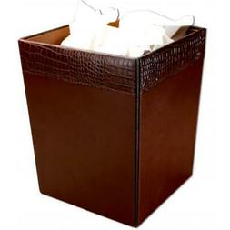 Dacasso A2003 Crocodile-Embossed Leather Square Waste Basket