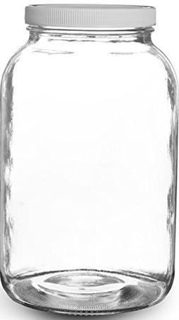 Pakkon Wide Mouth Glass Mason Jar with PlasticLid/Ferment &
