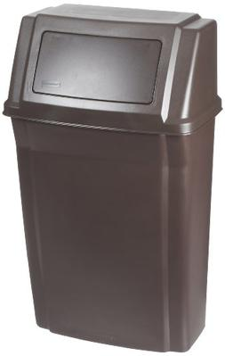 Rubbermaid Commercial Wall Mount Trash Can, 15 Gallon, Brown
