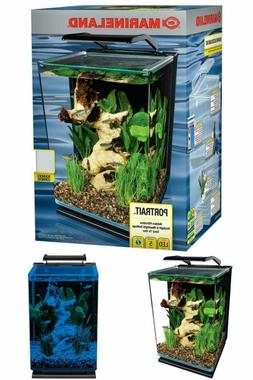 Aquarium Kit LED Portrait Glass Aquarium w/ Hidden Filter by