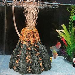 Wffo Aquarium Volcano Shape & Air Bubble Stone Oxygen Pump F