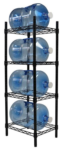 Apollo Hardware Black 4-Tier Water Bottle Storage Rack