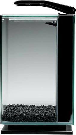 Black 5 Gallon Rounded Corners Portrait Clear Glass LED Aqua