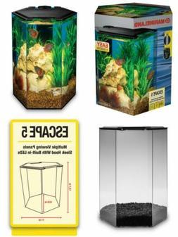 MarineLand Escape 5 Aquarium Kit, Built-in LEDs & Filter, 5-