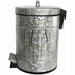 Galvanized Kitchen Trash Cans Pedal Waste Bin 5L, 1.3 Gallon
