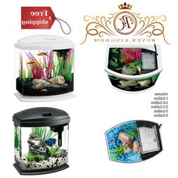 Glass Aquarium With Concealed LED Lighting Water Filter And