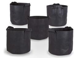 247Garden 5-Pack 7 Gallon Grow Bags /Aeration Fabric Pots w/