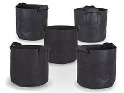 247Garden 5-Pack 5 Gallon Grow Bags /Aeration Fabric Pots w/