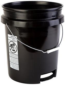 Premium 90 Mil HDPE Bucket with Bottom Grip Handle 5 Gal Bla