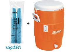 Igloo 5-Gallon Heavy-Duty Beverage Cooler, Orange & Disposab