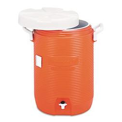 "Insulated Water Cooler, 5 Gal, Orange, 10""dia X 19 1/2""h, Po"