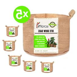 Scrafts Jute Grow Bags Round -Set of 5-10 Gallon - 15X13 - H