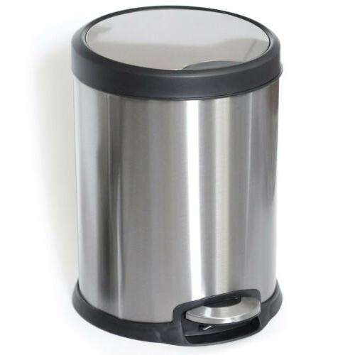 1.3 Gallon Garbage Trash Can Foot Pedal Step Kitchen Bathroo