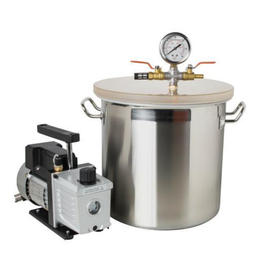 3 CFM Pump Gallon Stainless Vacuum Chamber Kit w/ Hose Air Filter