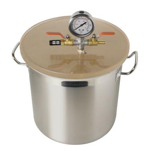 3 Gallon Steel Vacuum Chamber Kit Lid Hose US