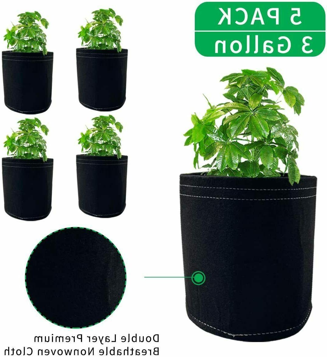 3gallon 5 pack grow bags fabric planter