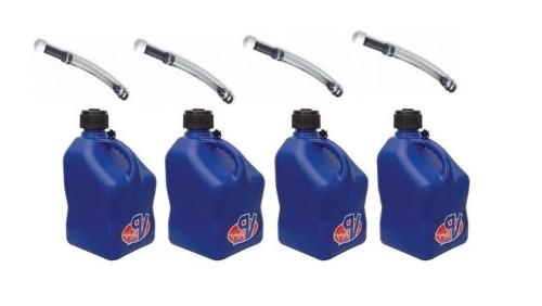 4 Pack VP 5 Gallon Square Blue Racing Utility Jugs with 4 De