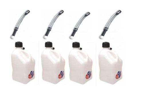 4 Pack VP 5 Gallon Square White Racing Utility Jugs with 4 D