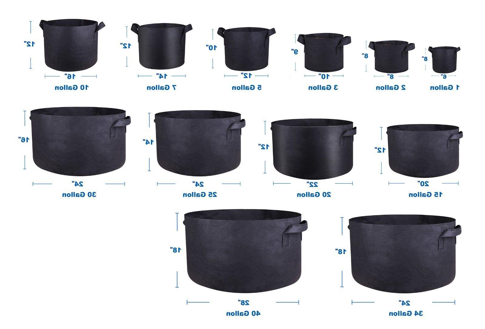 1/3/5/10/40/200 Gallon Fabric Grow Pots Breathable Smart