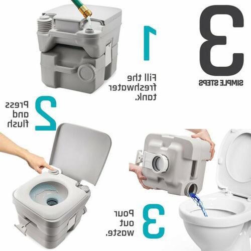 5 Gallon 20L Portable Toilet Flush Camping Commode