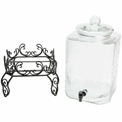 5 Gallon Glass Beverage Metal Stand and Chalkboard