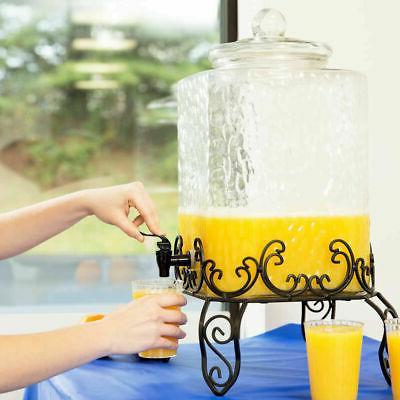 5 gallon hammered glass beverage dispenser