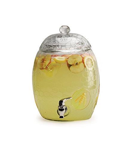 Glass Drink Beverage with Glass Lid Handle, Huge 2.1 Liters, Water, Juice, Wine, Liquor, Kombucha Tea & Cold Drinks