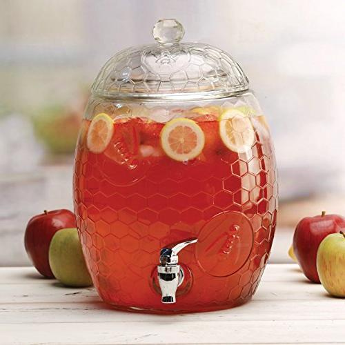 Circleware Mason Jar Glass Drink with Glass & Handle, Liters, Juice, Beer, Wine, Kombucha &