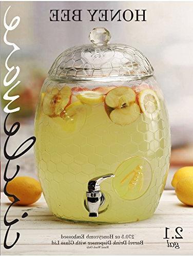 Glass Beverage Dispenser with Lid Handle, Huge Liters, Glassware Juice, Wine, Liquor, Kombucha Iced &